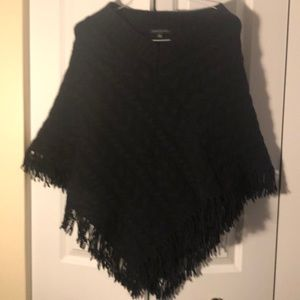 Black Cable knit wool poncho